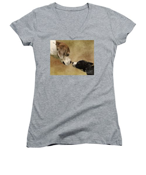 Nose To Nose Dogs Women's V-Neck (Athletic Fit)