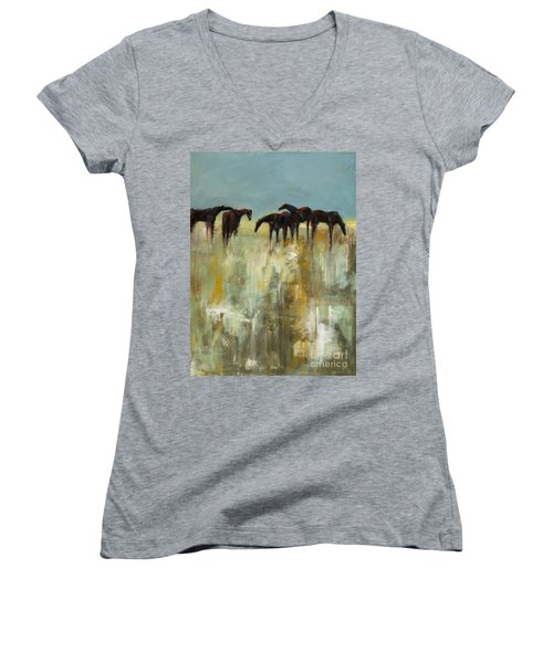 Not A Cloud In The Sky Women's V-Neck T-Shirt (Junior Cut) by Frances Marino