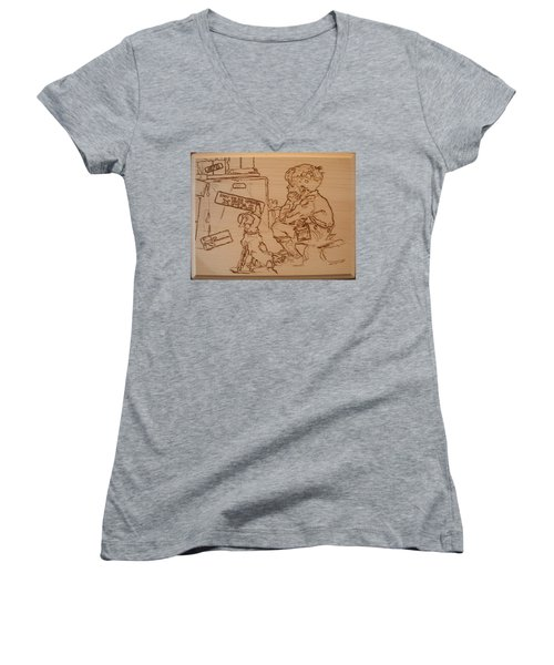 Not To Be Opened Until Christmas Women's V-Neck T-Shirt (Junior Cut) by Sean Connolly