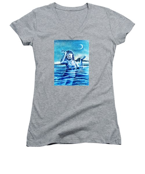 Not Waving But Drowning Women's V-Neck T-Shirt (Junior Cut) by Trudi Doyle
