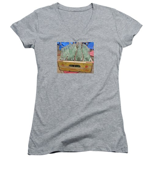 Women's V-Neck T-Shirt (Junior Cut) featuring the photograph Nothing Like A Coke by Barbara McDevitt