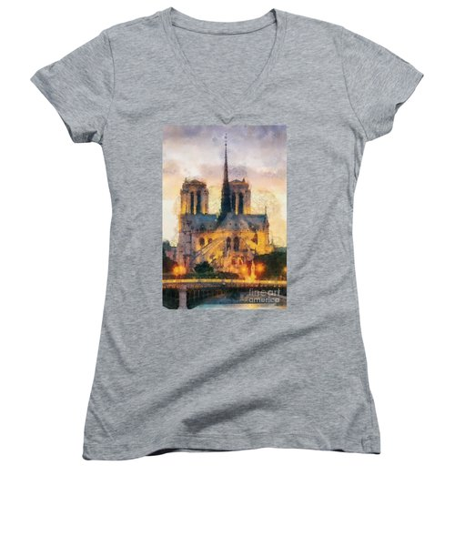 Notre Dame De Paris Women's V-Neck T-Shirt (Junior Cut) by Mo T