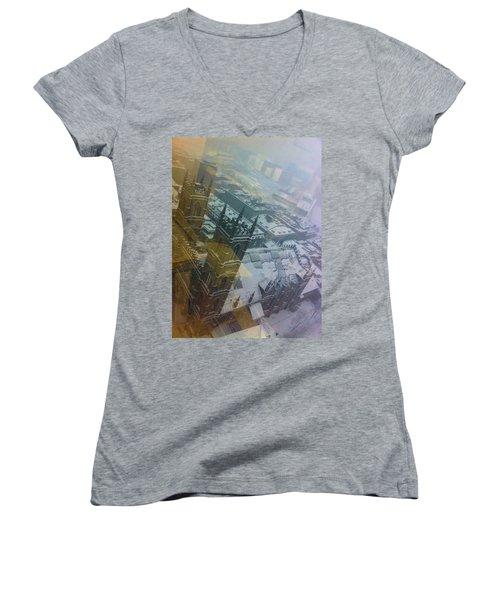 Notre Dame On The Vertical Women's V-Neck T-Shirt (Junior Cut) by Valerie Rosen