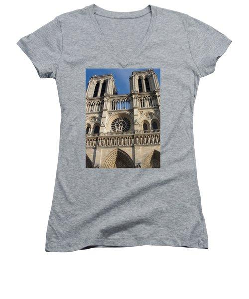 Women's V-Neck T-Shirt (Junior Cut) featuring the photograph Notre Dame by Tiffany Erdman