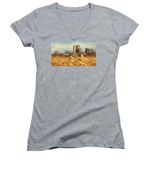 November Winds Women's V-Neck T-Shirt (Junior Cut) by Doug Kreuger