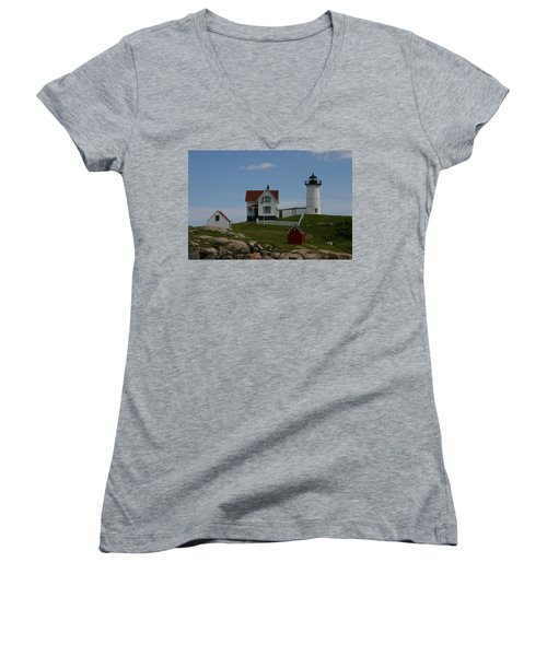 Women's V-Neck T-Shirt (Junior Cut) featuring the photograph Nubble Light House York Maine by Denyse Duhaime