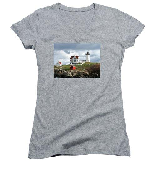 Nubble Lighthouse Women's V-Neck T-Shirt (Junior Cut) by Nancy Landry