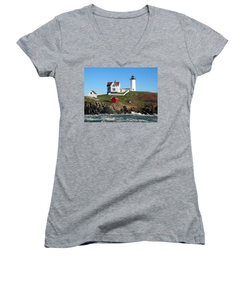 Women's V-Neck T-Shirt (Junior Cut) featuring the photograph Nubble Lighthouse One by Barbara McDevitt