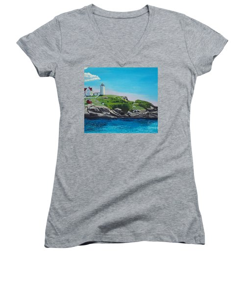 Nubble Lighthouse Sunrise Women's V-Neck (Athletic Fit)