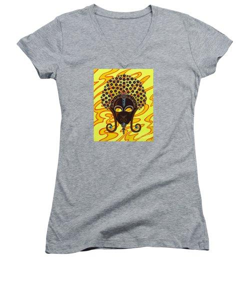 Nubian Modern Afro Mask Women's V-Neck T-Shirt (Junior Cut) by Joseph Sonday