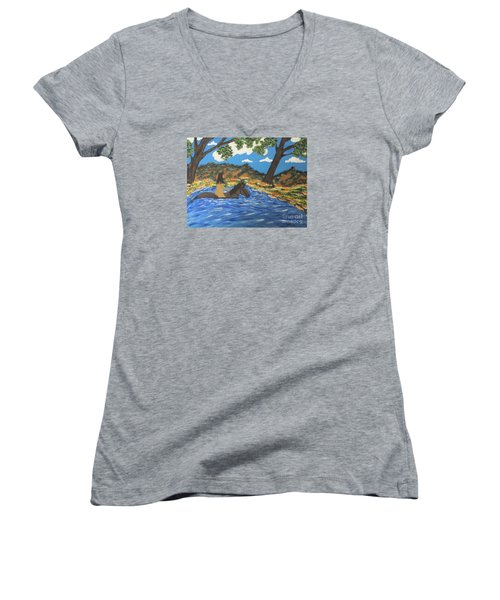 Women's V-Neck T-Shirt (Junior Cut) featuring the painting Nude And Bareback Swim by Jeffrey Koss