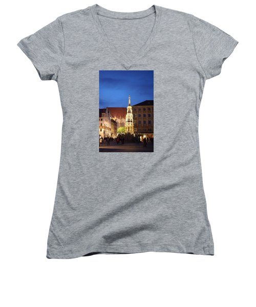 Women's V-Neck T-Shirt (Junior Cut) featuring the photograph Nuernberg At Night by Heidi Poulin