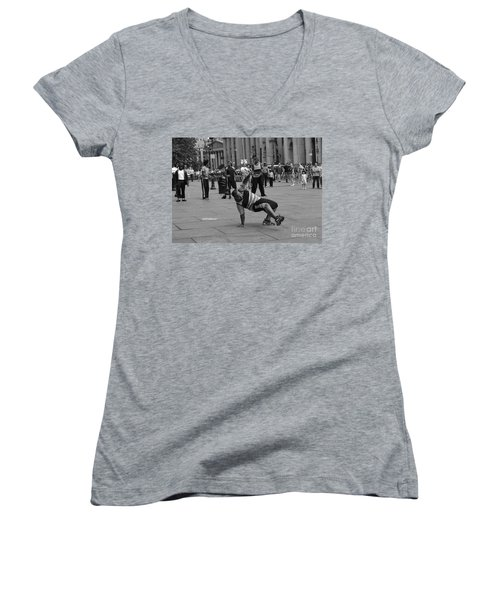Women's V-Neck T-Shirt (Junior Cut) featuring the photograph Ny City Street Performer by Angela DeFrias