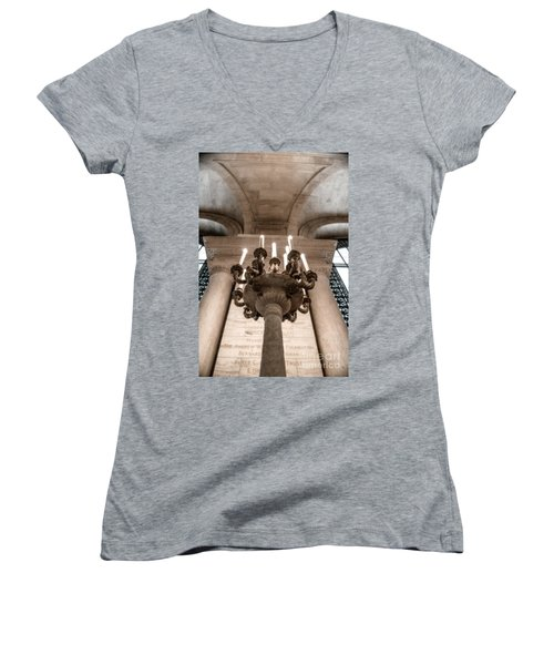 Ny Public Library Candelabra Women's V-Neck T-Shirt (Junior Cut) by Angela DeFrias
