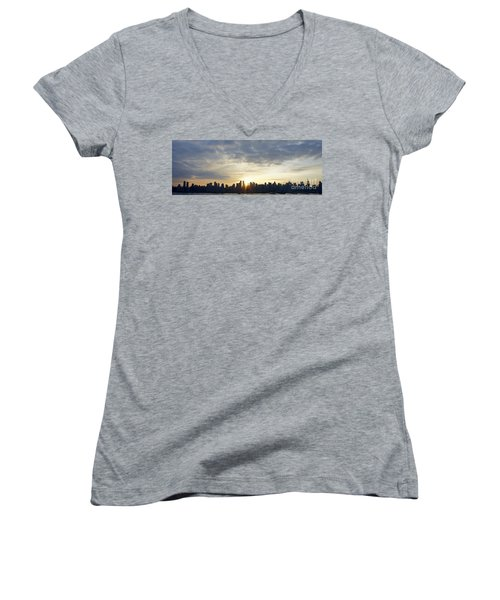 Nyc Sunrise Panorama Women's V-Neck (Athletic Fit)