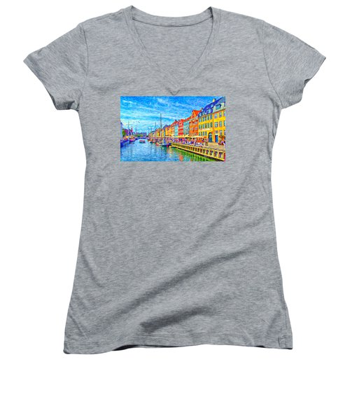 Nyhavn In Denmark Painting Women's V-Neck T-Shirt (Junior Cut) by Antony McAulay
