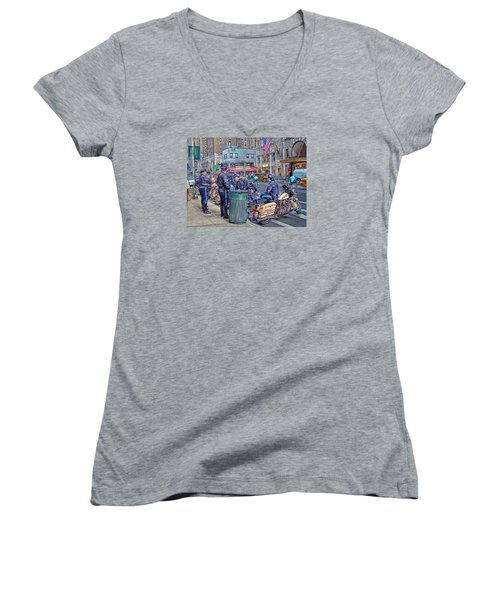Nypd Highway Patrol Women's V-Neck T-Shirt (Junior Cut) by Ron Shoshani