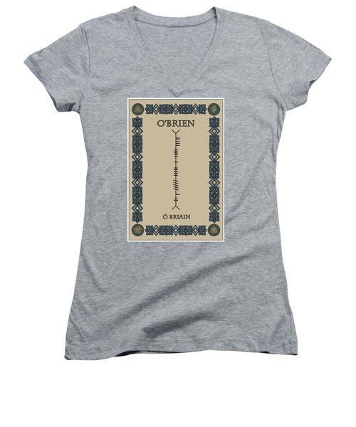 Women's V-Neck T-Shirt (Junior Cut) featuring the digital art O'brien Written In Ogham by Ireland Calling