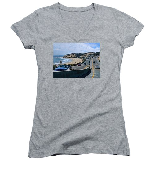 Oc On Pch In Ca Women's V-Neck T-Shirt (Junior Cut) by Jennie Breeze