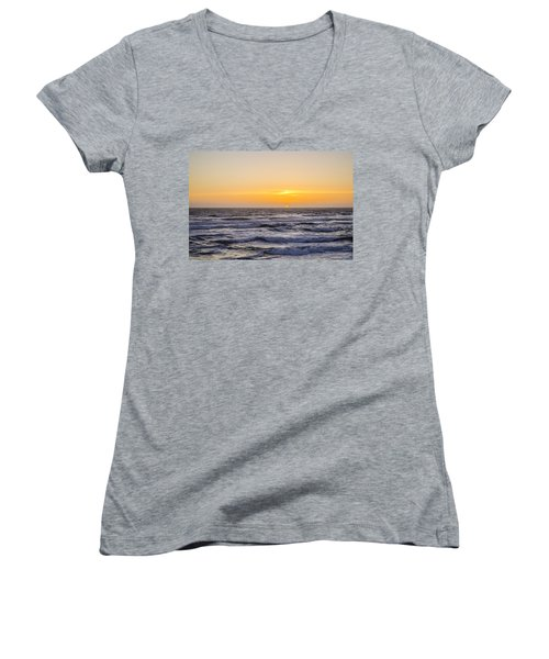 Ocean Beach Sunset Women's V-Neck