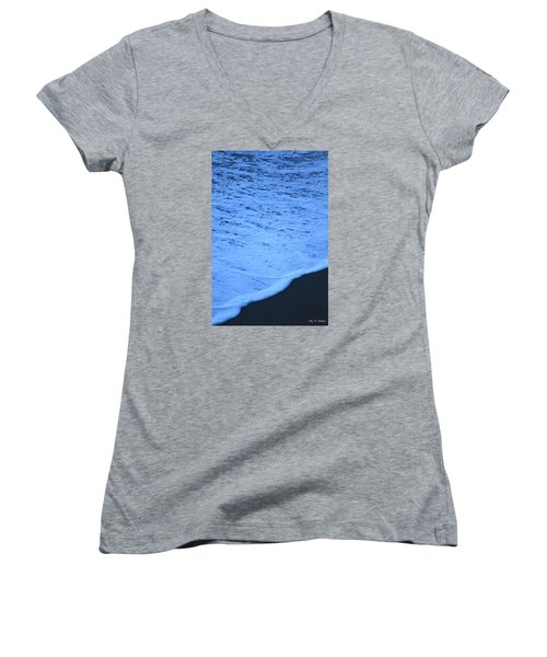 Women's V-Neck T-Shirt (Junior Cut) featuring the photograph Ocean Blues by Amy Gallagher
