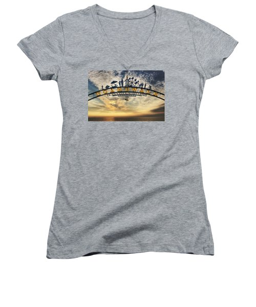 Ocean City Boardwalk Women's V-Neck T-Shirt (Junior Cut) by Lori Deiter