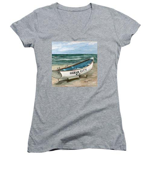 Ocean City Lifeguard Boat 2  Women's V-Neck (Athletic Fit)