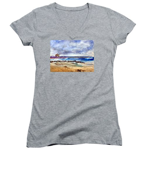 Ocean  Inlet Beach In Boynton Beach Women's V-Neck T-Shirt (Junior Cut) by Donna Walsh