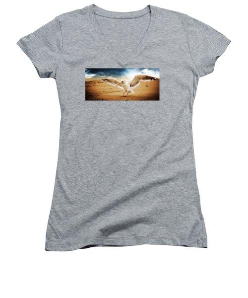 Women's V-Neck T-Shirt (Junior Cut) featuring the digital art Ocean Landing by Aaron Berg