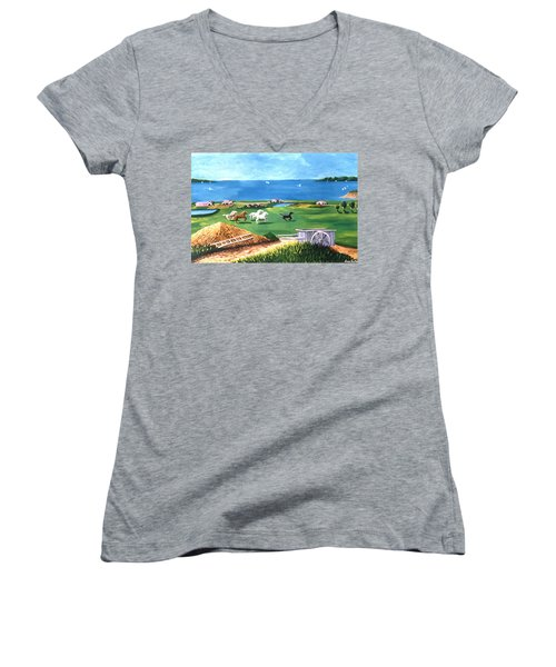 Women's V-Neck T-Shirt (Junior Cut) featuring the painting Ocean Ranch by Lance Headlee