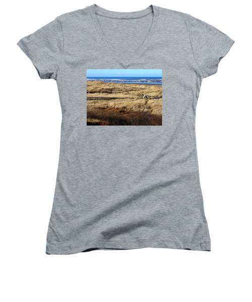Ocean Shores Boardwalk Women's V-Neck T-Shirt (Junior Cut) by Jeanette C Landstrom