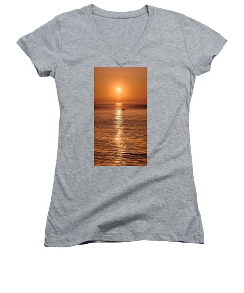 Ocean Sunrise At Montauk Point Women's V-Neck