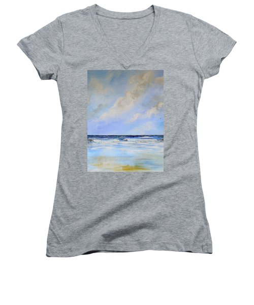 Ocean View Women's V-Neck T-Shirt (Junior Cut) by Dorothy Maier