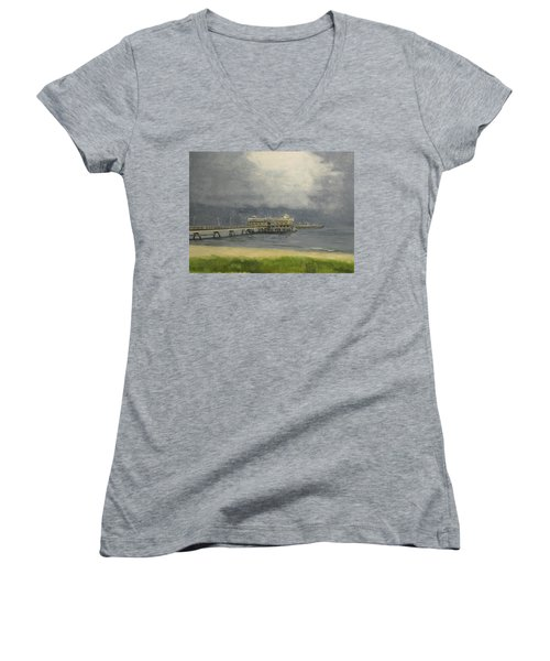 Ocean View Pier Women's V-Neck T-Shirt (Junior Cut) by Stan Tenney