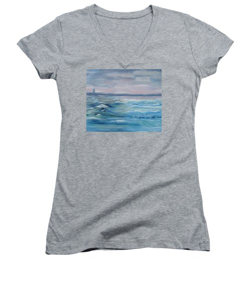 Women's V-Neck T-Shirt (Junior Cut) featuring the painting Oceans Of Color by Diane Pape