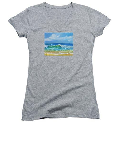 Oceanscape Women's V-Neck T-Shirt (Junior Cut) by Teresa Wegrzyn