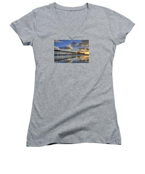 Oceanside Pier Sunset Reflection Women's V-Neck T-Shirt (Junior Cut) by Peter Tellone