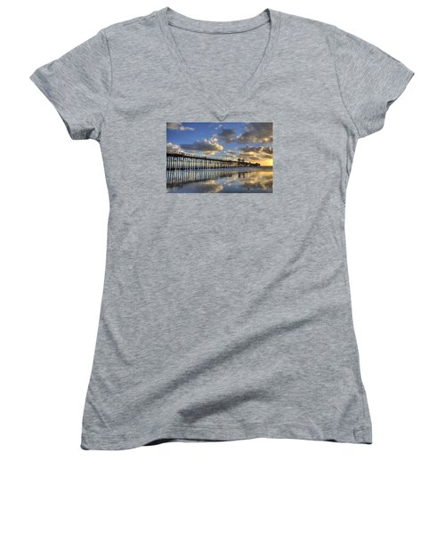 Oceanside Pier Sunset Reflection Women's V-Neck (Athletic Fit)
