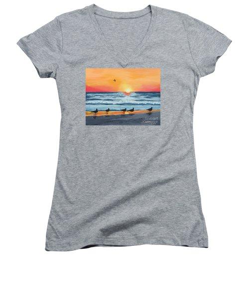 October Sunset On Siesta Key Florida Women's V-Neck T-Shirt (Junior Cut)