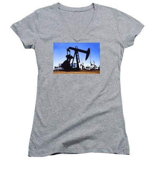 Oil Fields Women's V-Neck