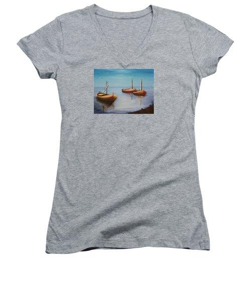 Oil Msc 023  Women's V-Neck T-Shirt (Junior Cut) by Mario Sergio Calzi
