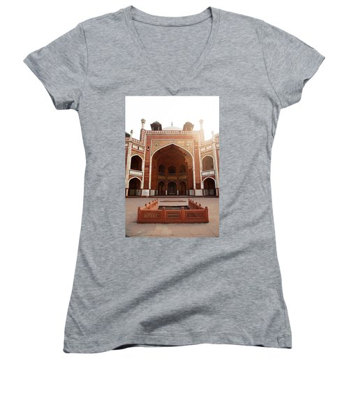 Oil Painting - Cross Section Of Humayun Tomb Women's V-Neck T-Shirt (Junior Cut)