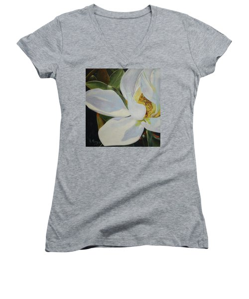 Oil Painting - Sydney's Magnolia Women's V-Neck (Athletic Fit)