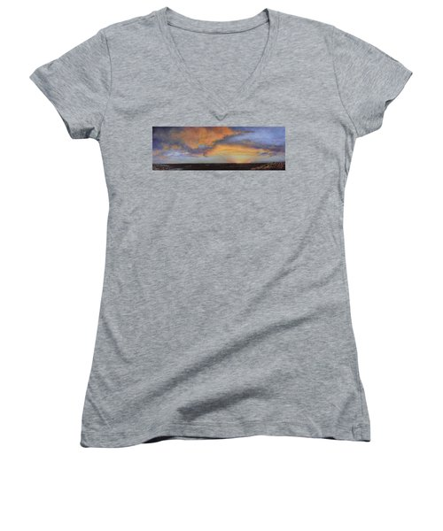 Oil Painting When The Sky Turns Color Women's V-Neck (Athletic Fit)