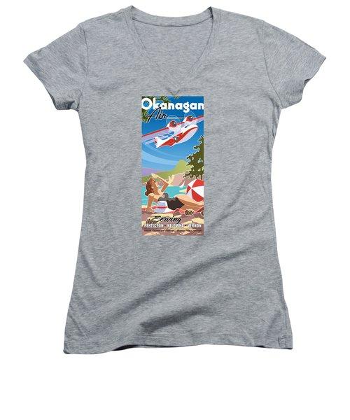 Okanagan Air, Mid Century Fun Women's V-Neck (Athletic Fit)