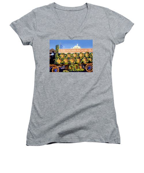 Women's V-Neck T-Shirt (Junior Cut) featuring the painting Oktoberfest by Lynne Reichhart