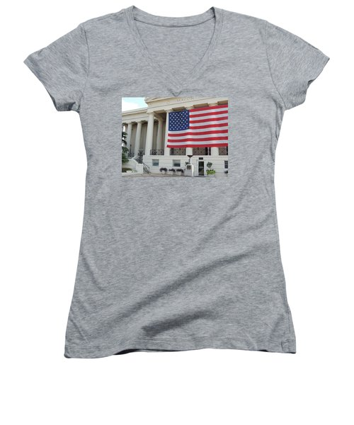 Ol' Glory Women's V-Neck T-Shirt (Junior Cut) by Aaron Martens
