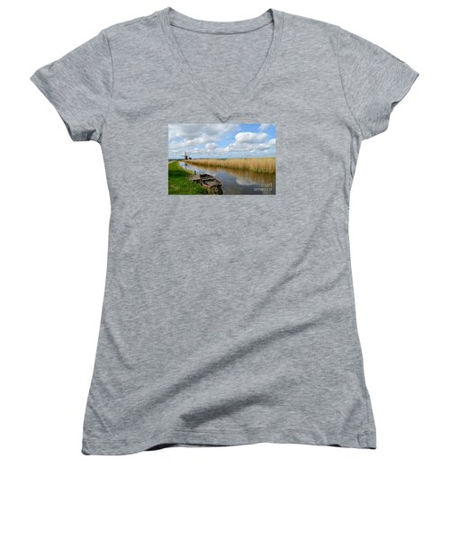 Old Boat In A Canal In Holland Women's V-Neck T-Shirt (Junior Cut) by IPics Photography