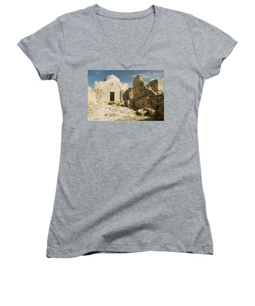 Old Church Anogyra  Women's V-Neck T-Shirt (Junior Cut) by Jeremy Voisey