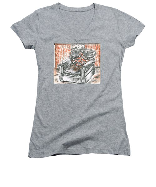 Women's V-Neck T-Shirt (Junior Cut) featuring the drawing Old Cozy Chair by Teresa White